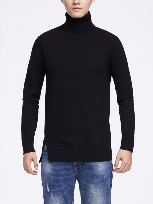 黑色午夜 高领毛衫