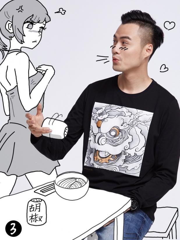 长袖T恤 恭喜发财(黑)