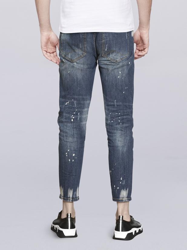 【405】蓝色水洗九分牛仔裤