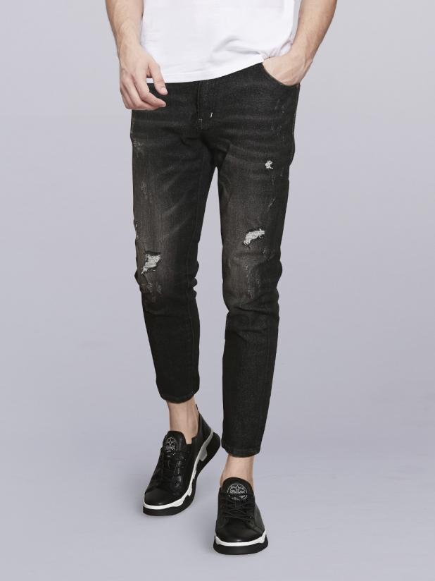 【105】黑色水洗九分牛仔裤