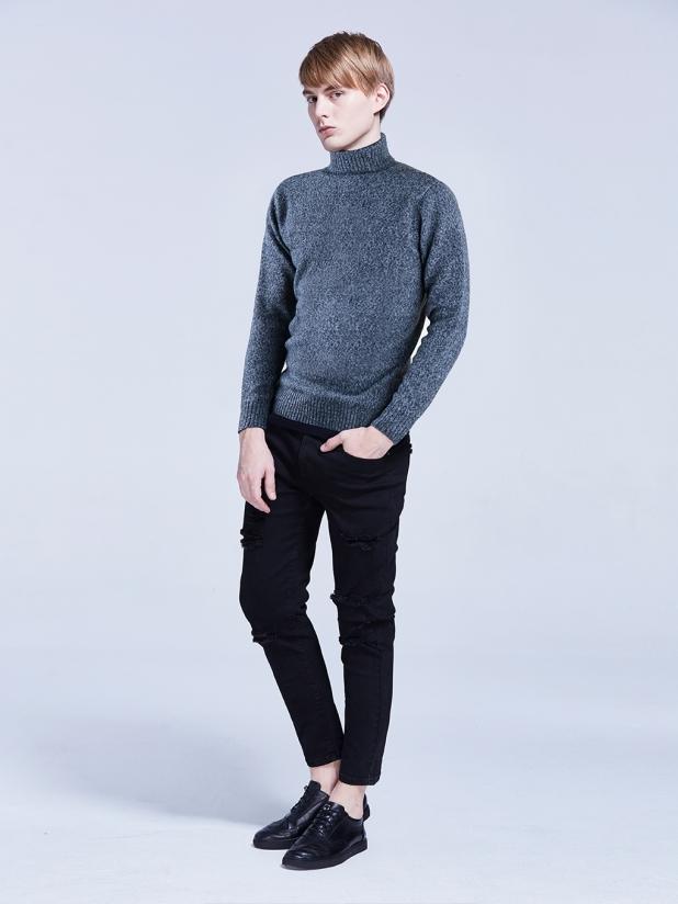 深花灰色 高领毛衫