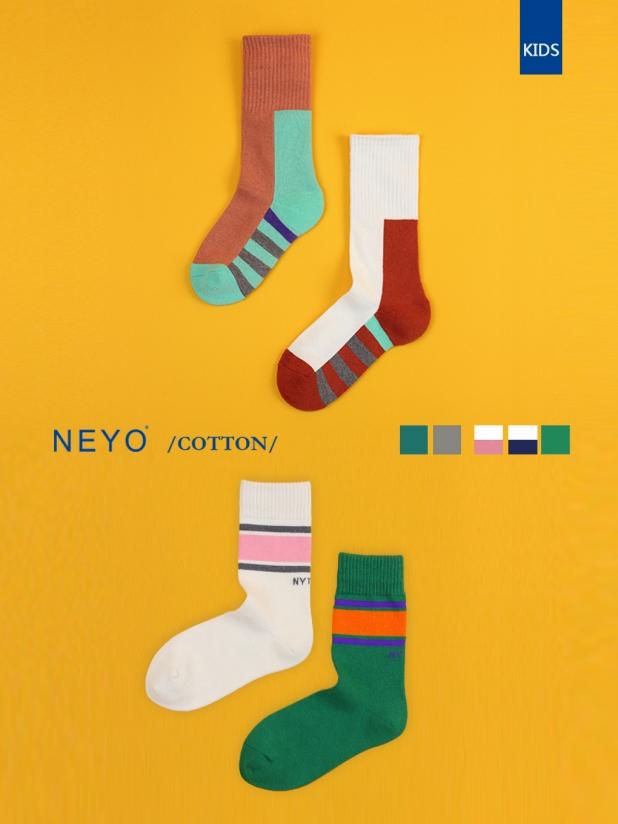 NEYO内优堂 进口棉男女童3-9岁潮童ins厚底常规长袜棉袜