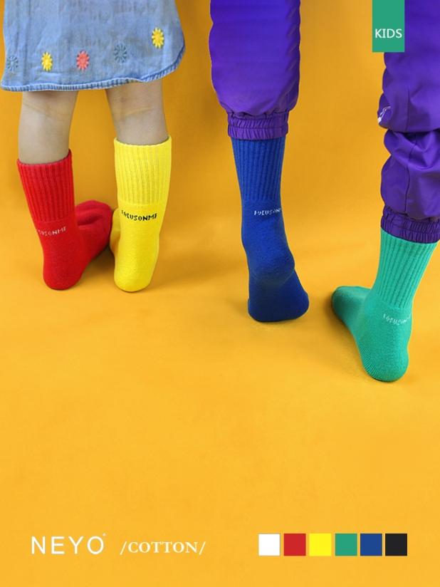 NEYO内优堂 进口棉男女童0-9岁国潮ins纯色厚底长袜棉袜