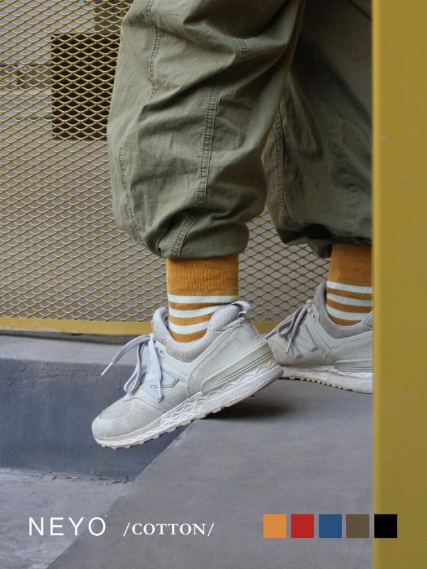 NEYO内优堂 情侣款 进口棉国潮工装条纹中筒女袜