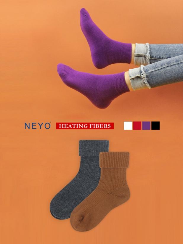 NEYO内优堂 发热纱 纯色中筒 堆堆无痕松口长筒女袜