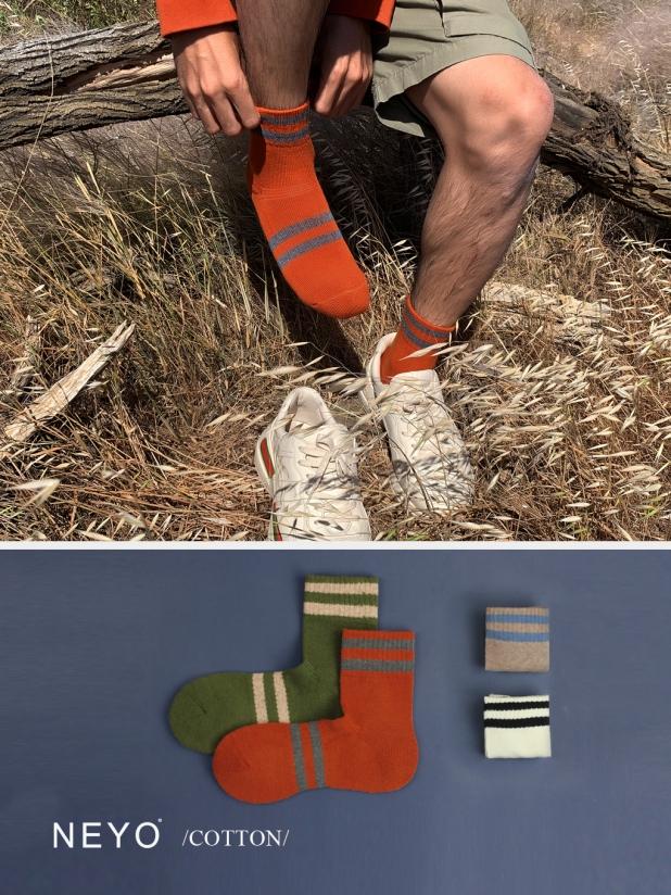 NEYO内优堂 进口棉 条纹纯色厚底运动中筒男袜