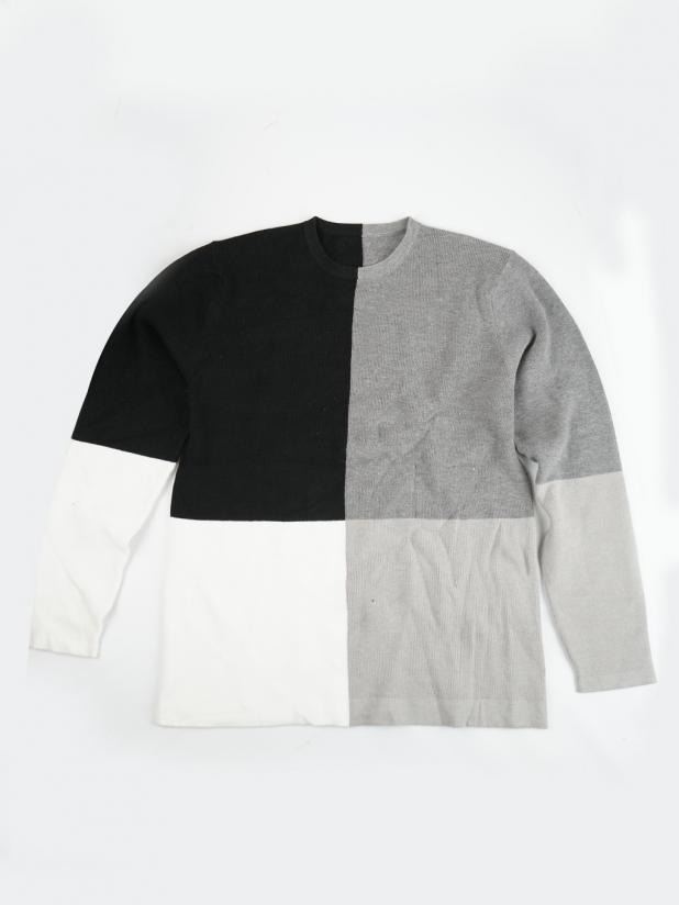 【打板/模特试穿】黑白灰拼接毛衣