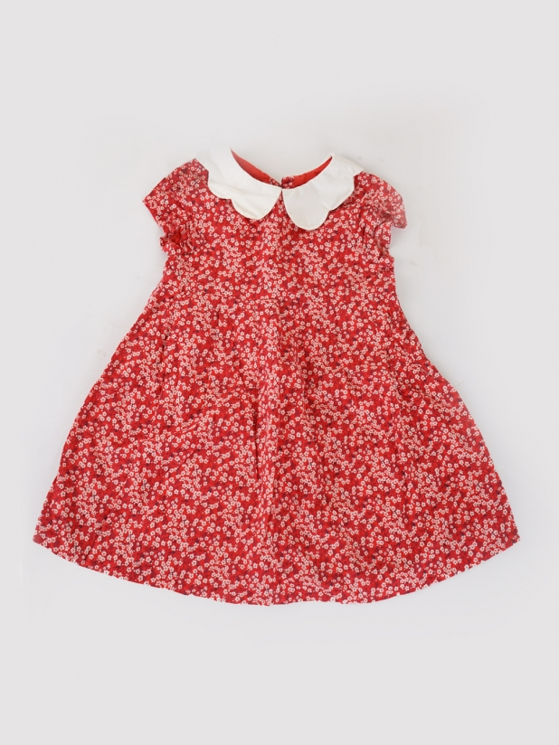 jacadi红色碎花无袖小连衣裙