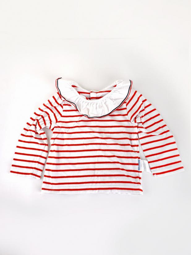 jacadi红白条纹长袖上衣