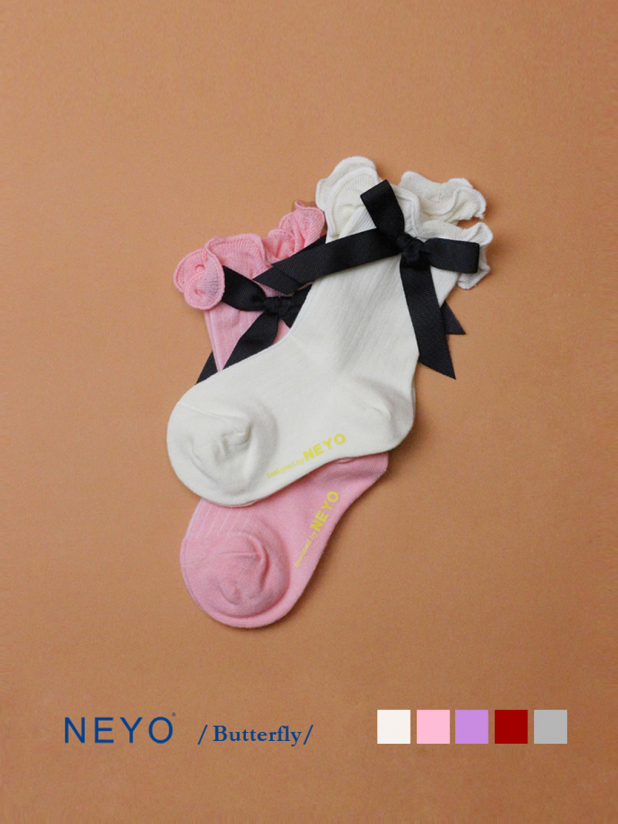 NEYO内优堂 棉 1-9岁薄女童蝴蝶结花边中筒袜